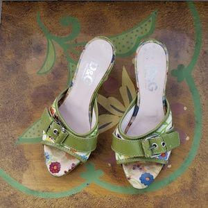 Dolce & Gabbana Floral Green Buckle Heels